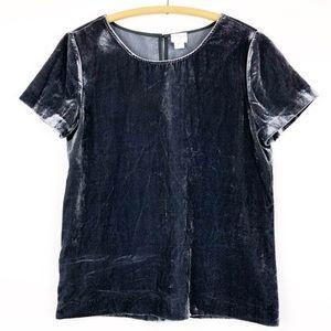 J crew women's size xs velvet short sleeve shirt